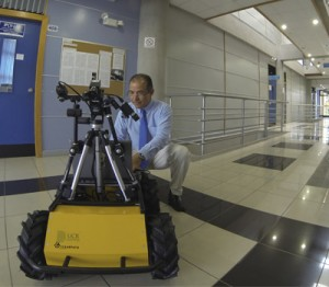 Dr. Geovanni Martinez with Clearpath Robotics' Husky UGV