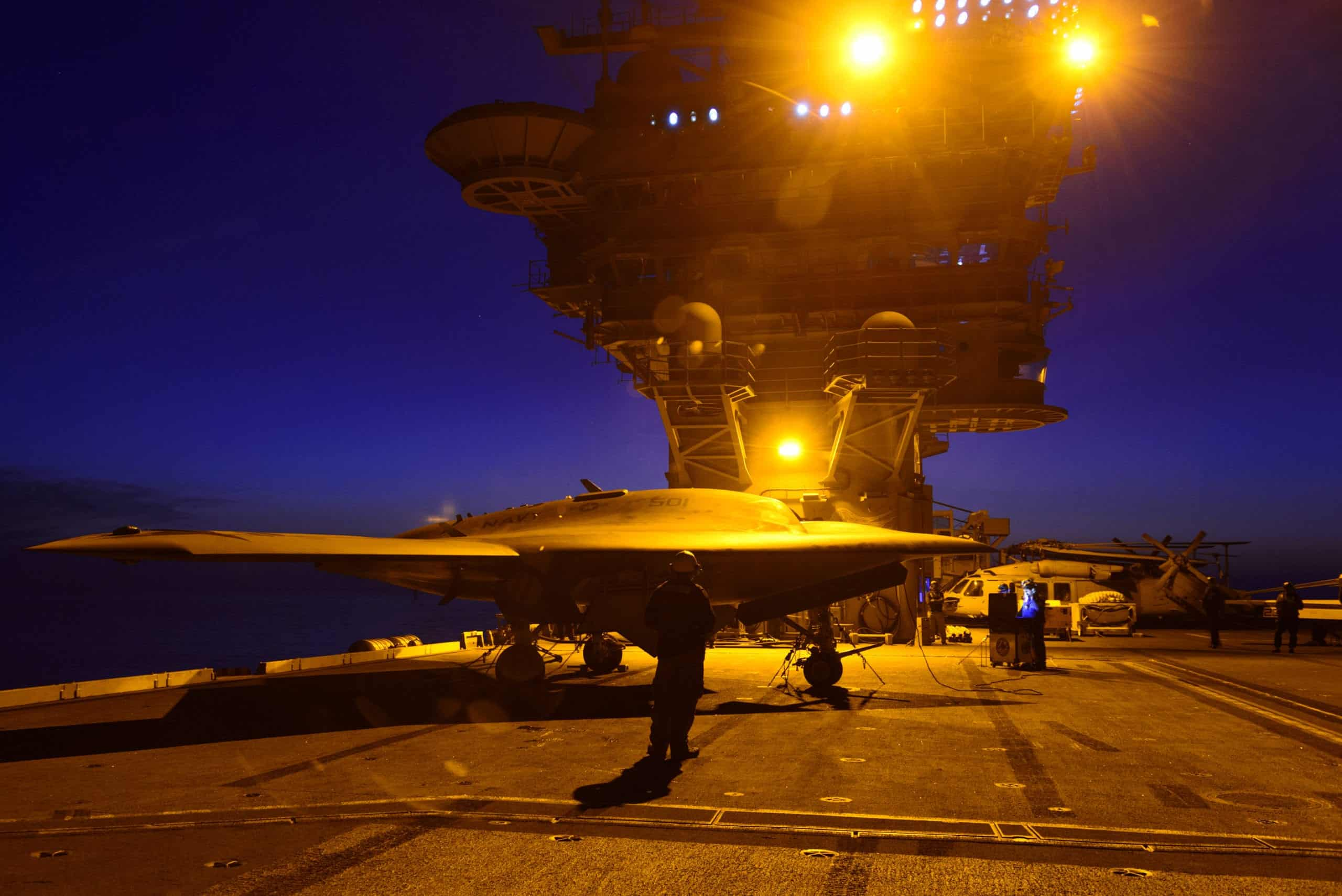 Unmanned X-47B Complet...X 47b At Night