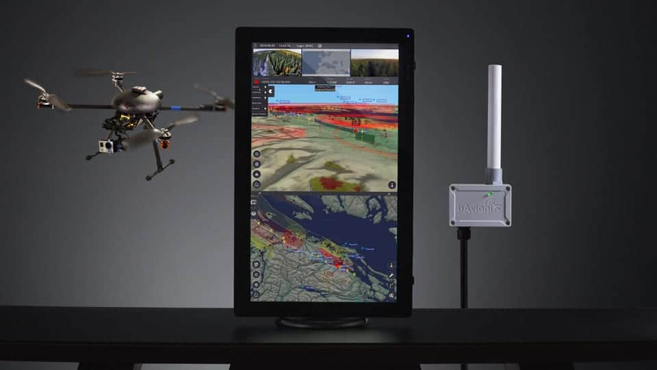 uAvionix PingStation ADS-B receiver and Kongsberg Geospatial IRIS UAS airspace situational awareness display