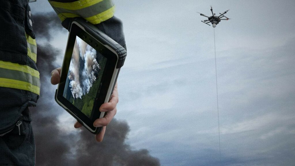 Tethered drone for fire service