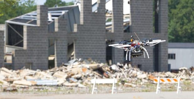 DARPA quadcopter navigating urban environment