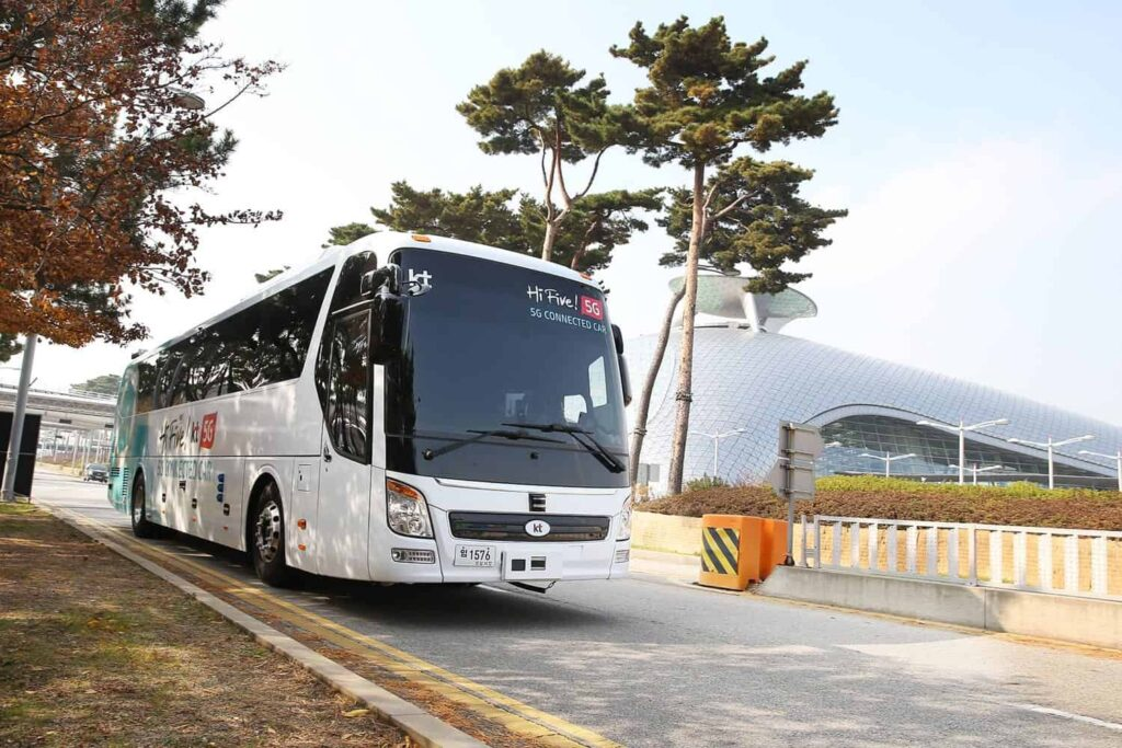 KT driverless bus at Incheon airport
