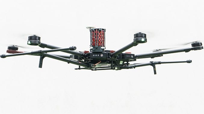 DJI M600 drone with DRS-M600 parachute system