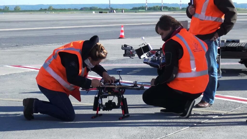 Elistair Safe-T tethered drone system at Paris Le Bourget airport