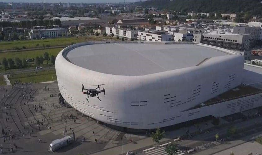 Elistair tethered drone system at Bordeaux Arena
