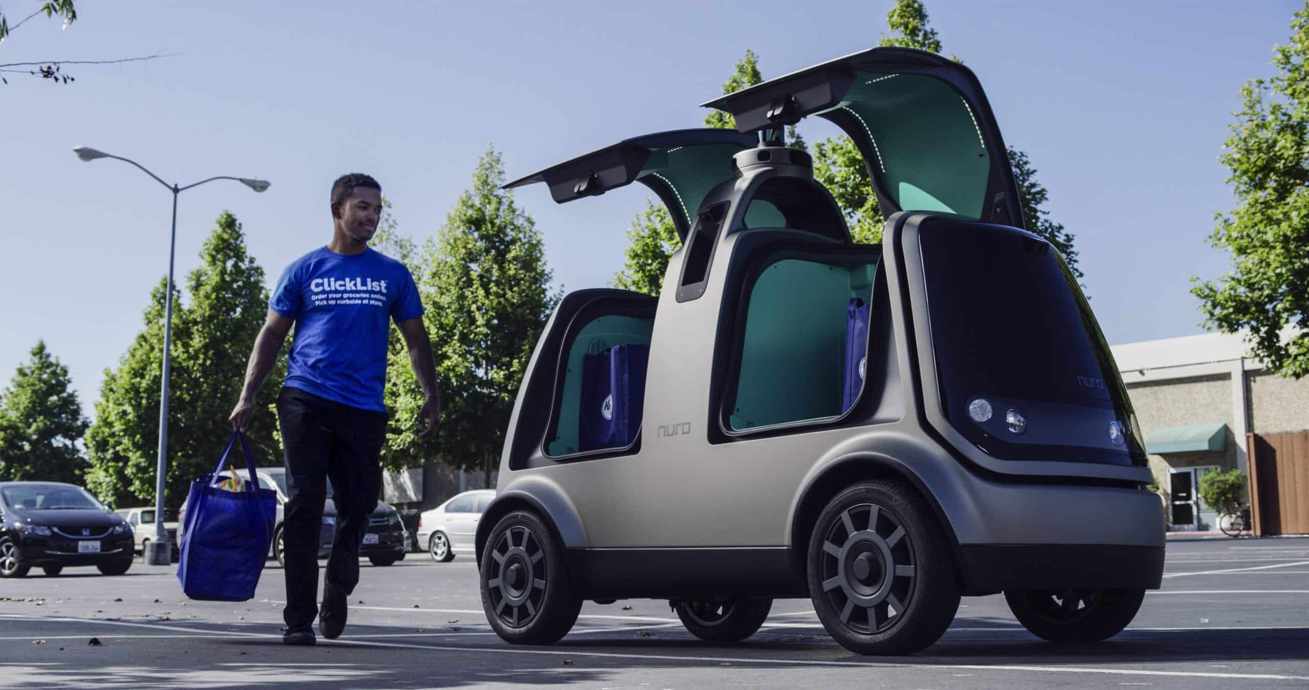 Kroger and Nuro unmanned delivery vehicle