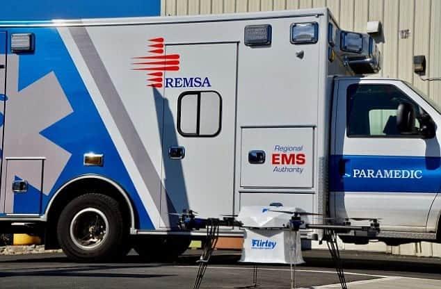 Flirtey defibrillator delivery drone