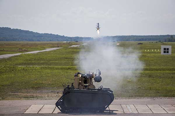 Javelin missile fired from UGV
