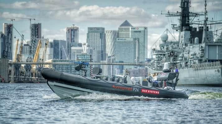 USV and Royal Navy warship