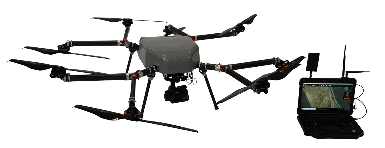 Long-endurance hybrid power octocopter drone