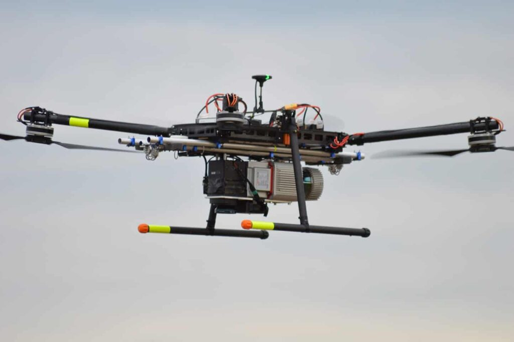 Electric quadcopter drone designed for aerial surveying