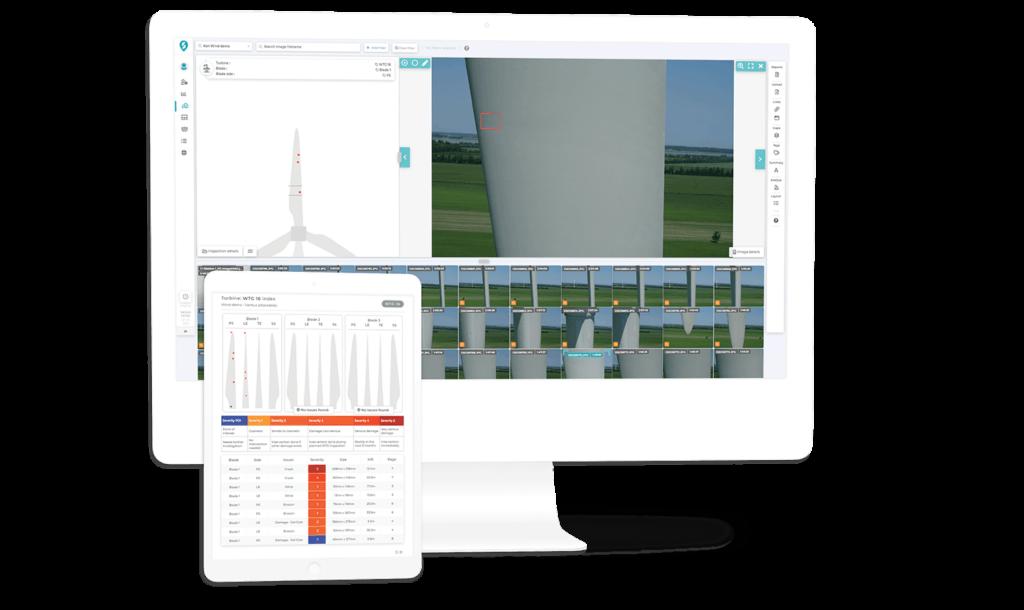 Wind farm drone inspection software