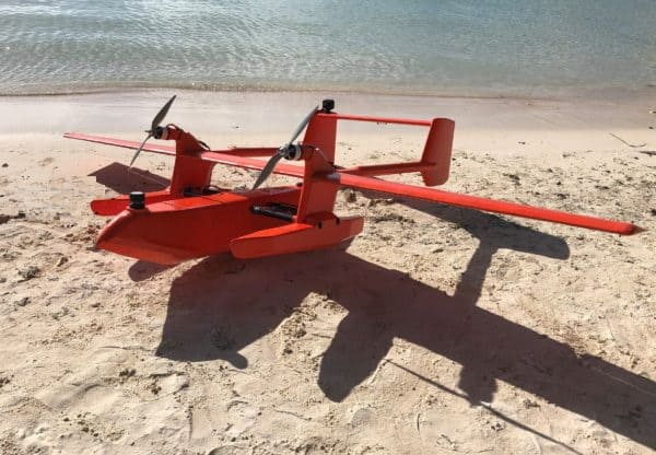 Unmanned seaplane with FT Tech ultrasonic wind sensor