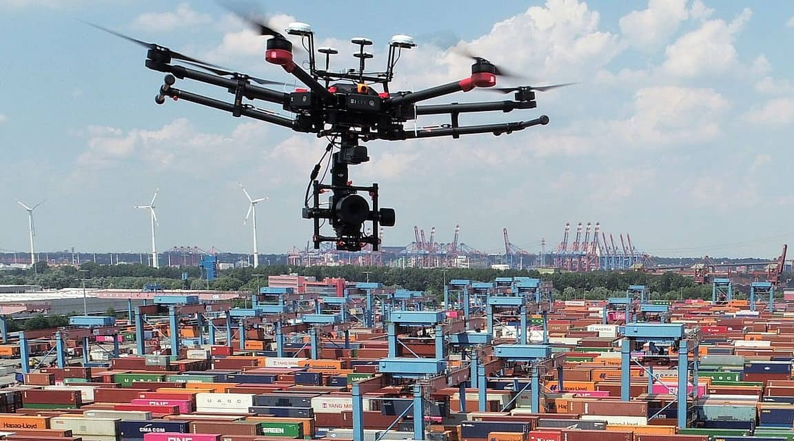 Drone Aerial Inspection of Automated Shipping Yards   Unmanned Systems Technology