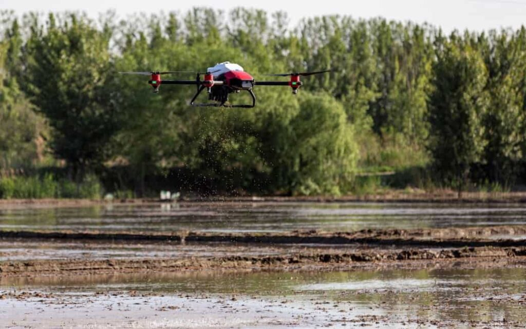 XAG automated rice seeding drone