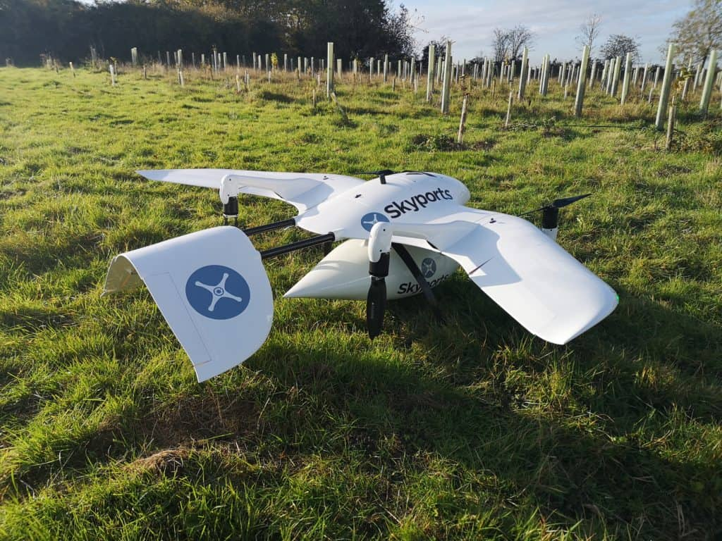 Skyports BVLOS trial drone with Iris Automation DAA