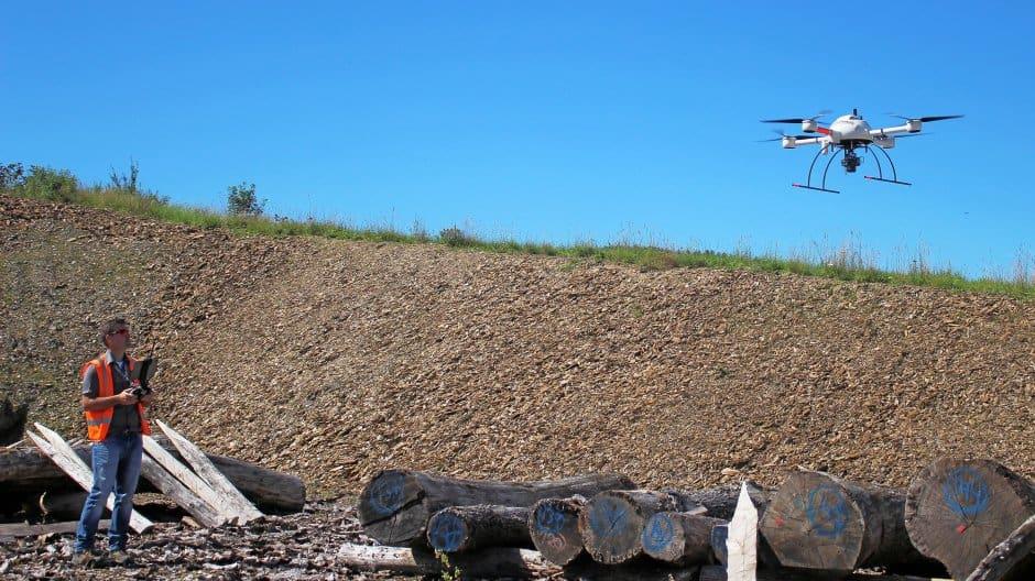 Microdrones UAS used on construction site