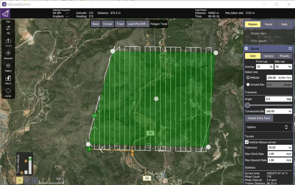 QGroundControl GCS software for VALAQ Mapping drone